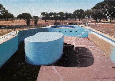 Willem Pretorius 'Abandoned Pool, Kuruman' Oil on Canvas, 52cmx46cm